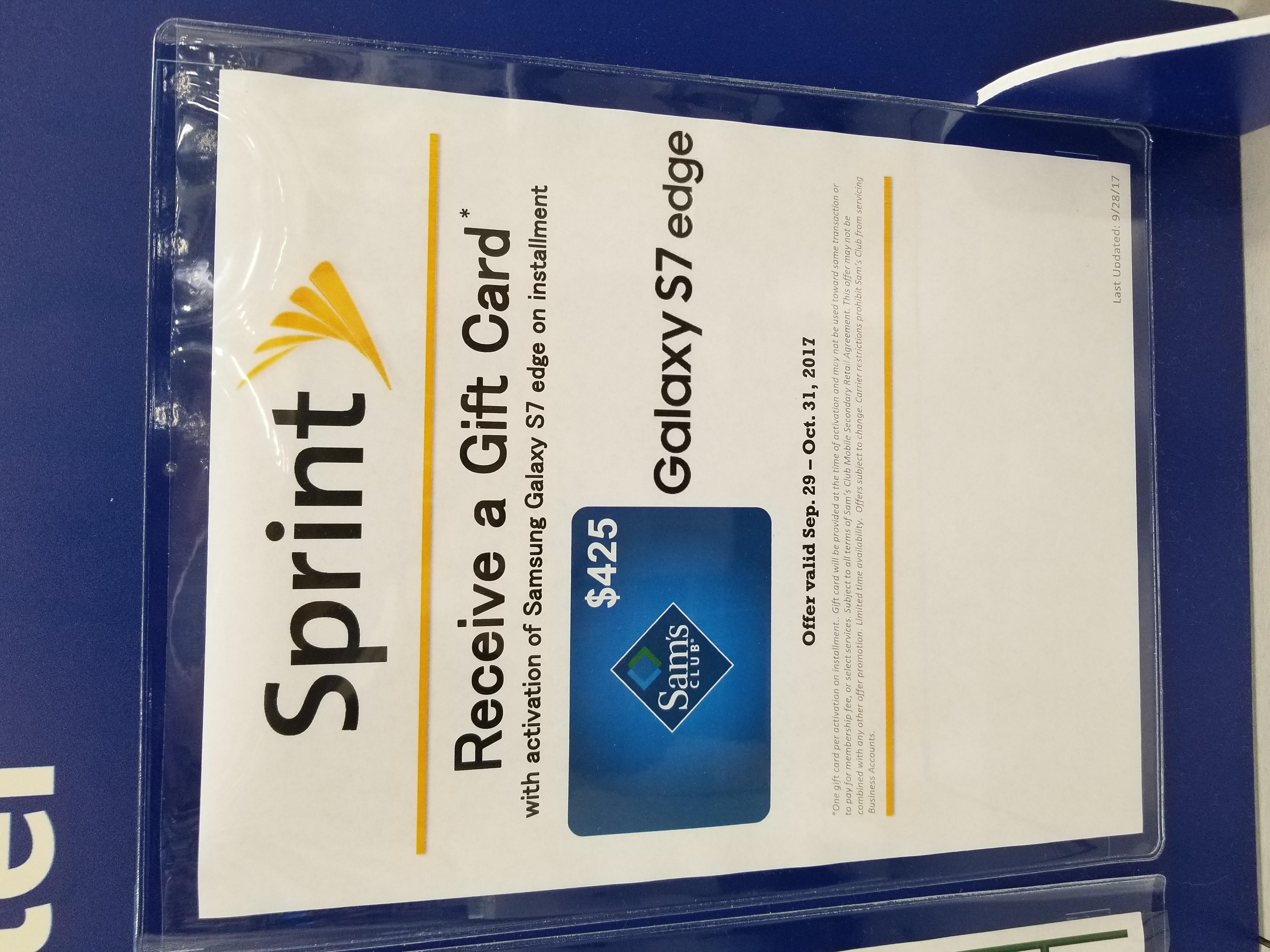 Sams Club Promotion >> Deal Alert Get A Sprint Galaxy S7 Edge From Sam S Club For 287 52