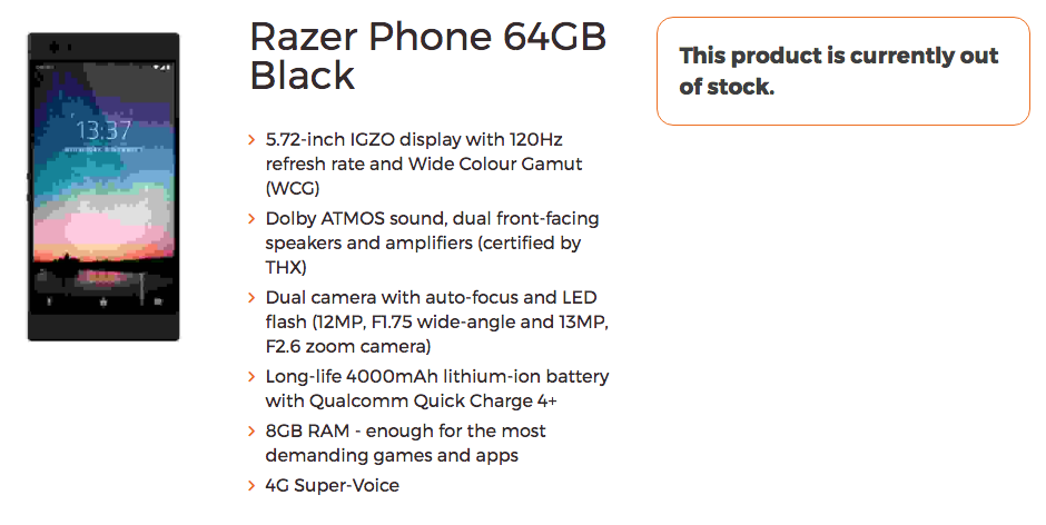 Razer Phone gets listed with specifications a day ahead of launch