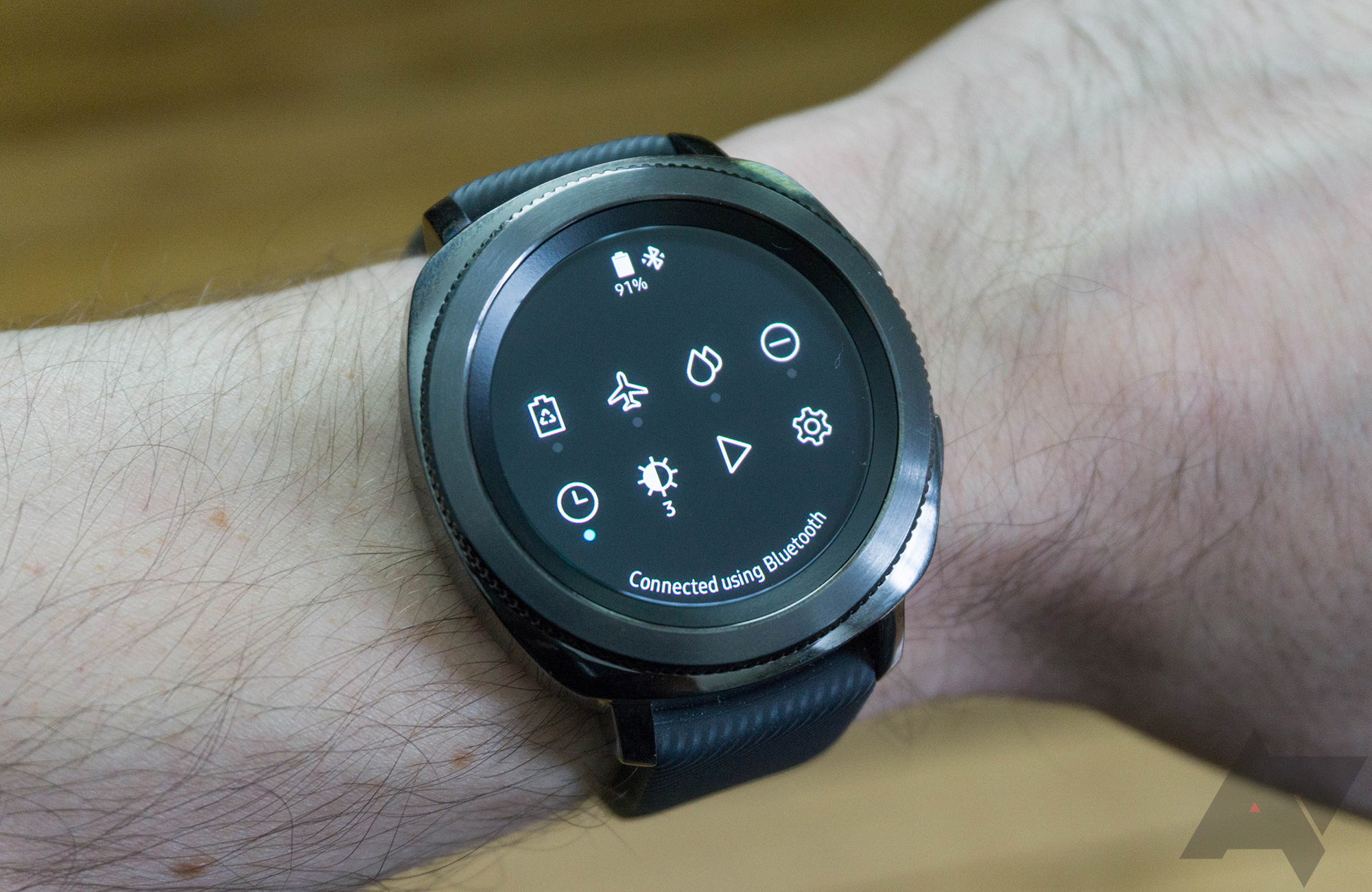 Samsung Gear Sport Review A Smartwatch Regular People Might The Pebble Smart Watch Will Include Flexible Circuit Board I Also Enjoy Quick Settings Drop Down Swipe From Top Of Screen And You Can Access System Do Not Disturb Mode Play Pause