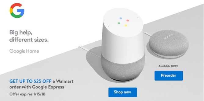 Google Express And Walmart Google Home Mini Deal