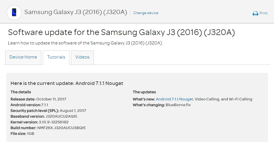 The AT&T Samsung Galaxy J3 (2016) is getting Nougat, including