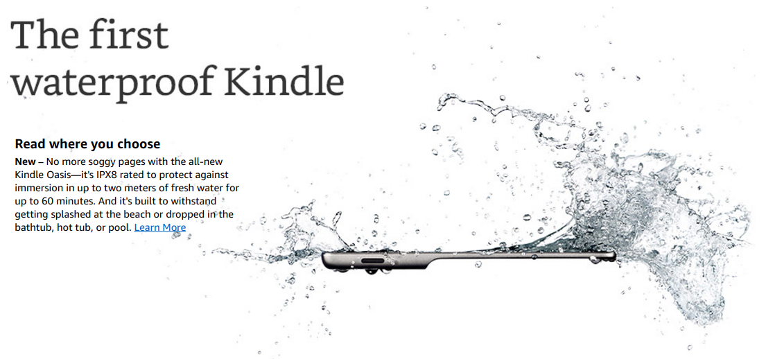 Kindles oasis is its first waterproof ebook reader with a larger 7 the oasis also ups the storage from 4gb to 8gb or 32gb adds more leds for reading in dark environments and most importantly its ipx8 rated for up to 2 fandeluxe Gallery