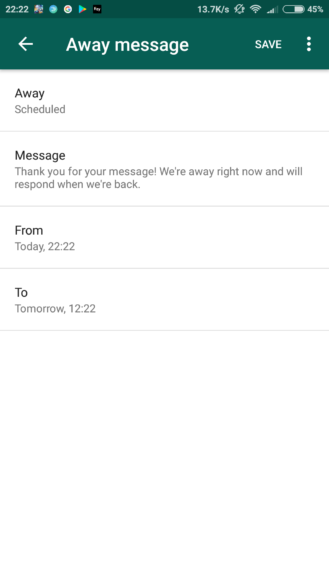 nexus2cee whatsapp business away message scheduled 329x585 - Android app, landline number registration, and multiple accounts options