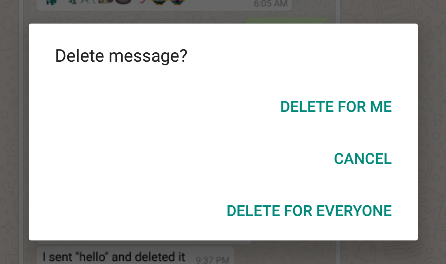 Image result for whatsapp delete message