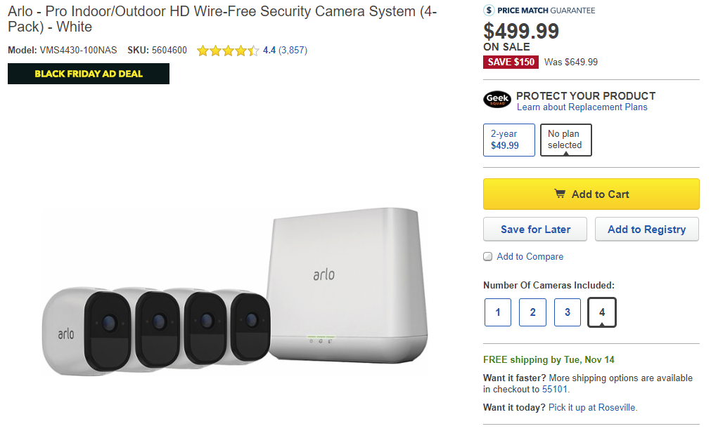 Deal Alert] Arlo Pro 4-pack on sale for $499 99 ($150 off