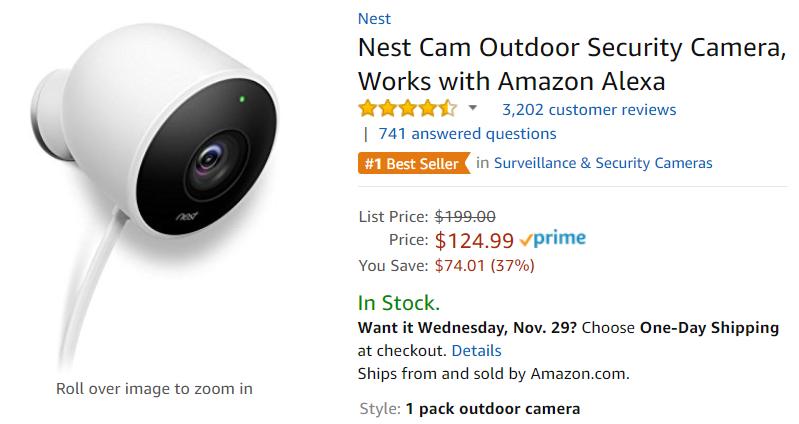 Deal Alert] Amazon discounts Nest Cam to $118 ($81 off), Cam Outdoor ...