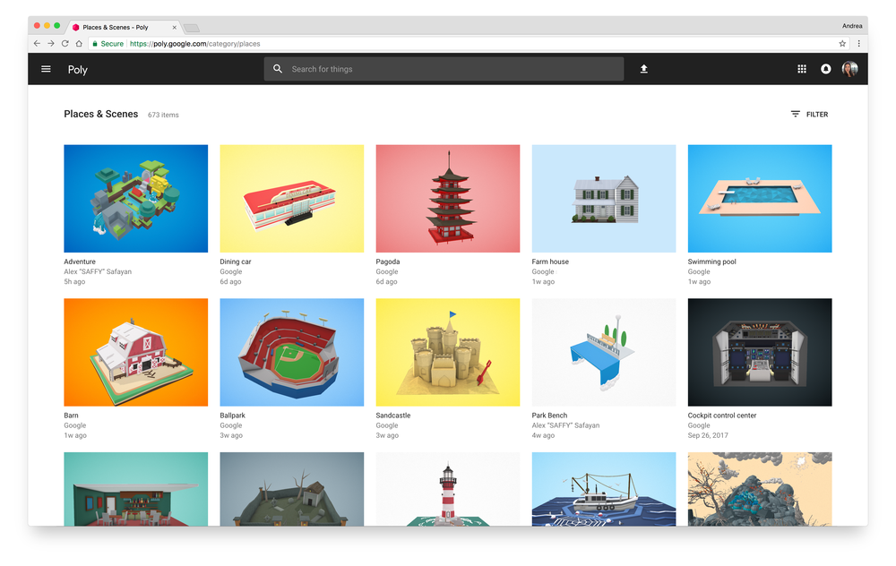 Google launches Poly, a database of 3D objects for app