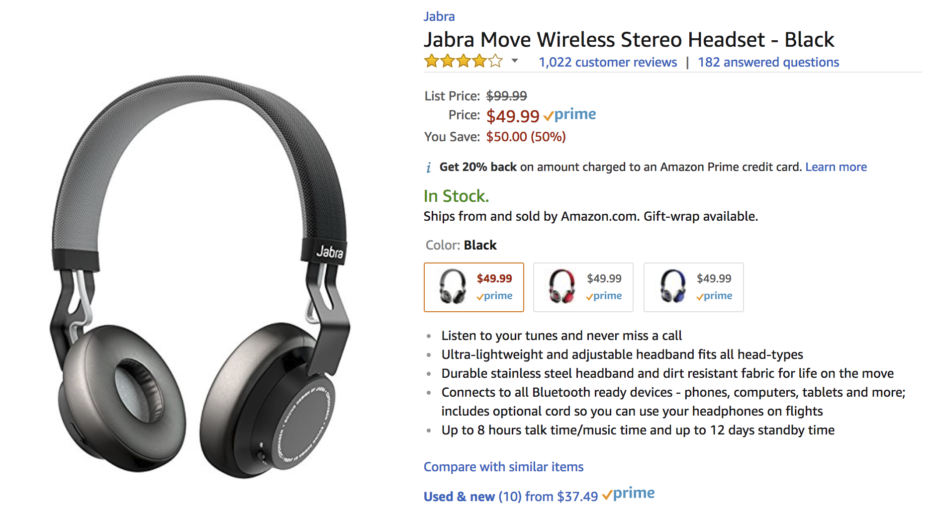 Deal Alert Jabra Move Wireless Bluetooth Headphones Are 49 99 50 Off At Many Retailers