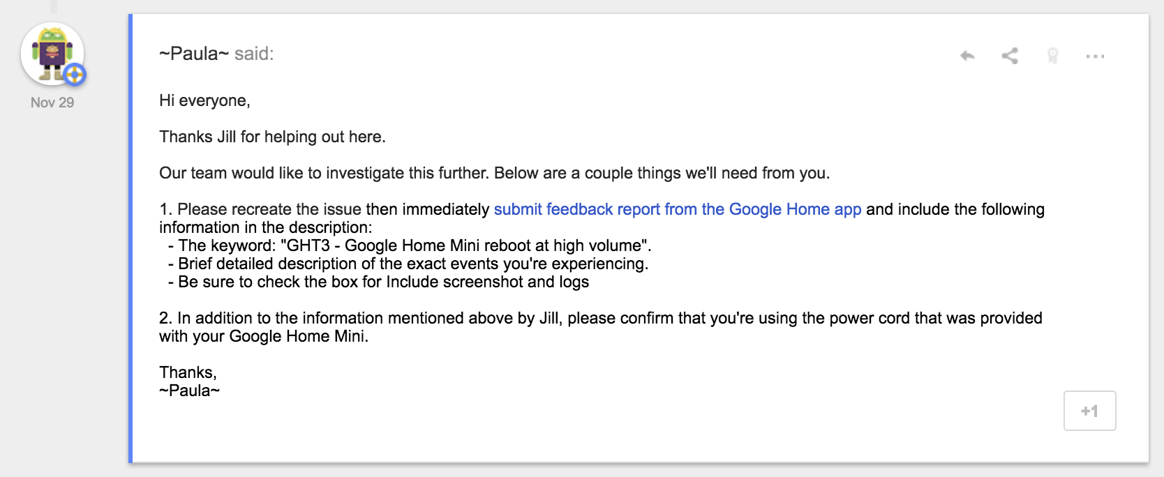 Amazing Google Is Aware Of The Issue And Recommends People Experiencing It To  Submit A Feedback Report Through The Google Home App With The Information  Above.