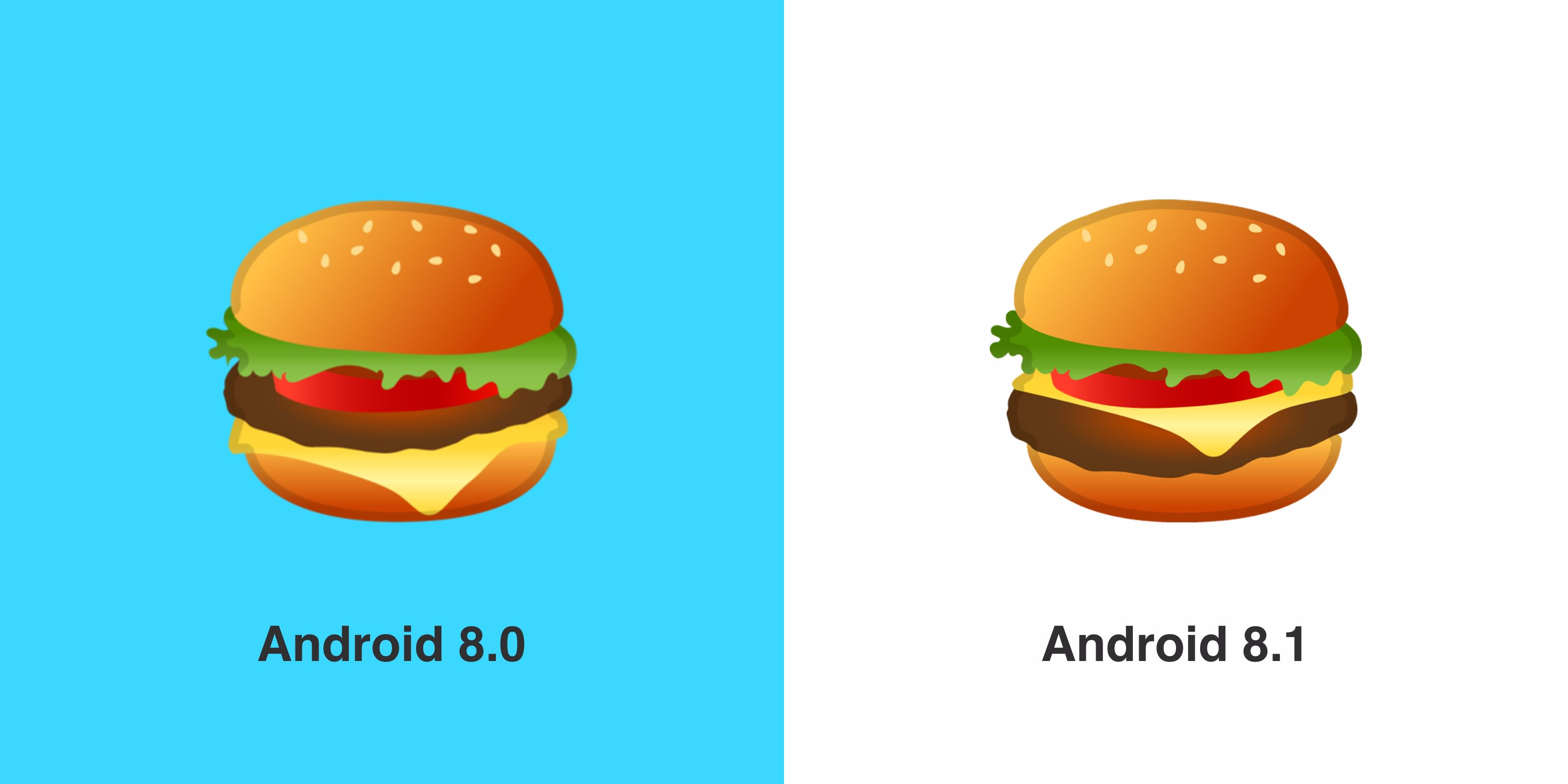 WHEW, Google fixed the burger emoji in Android 8.1