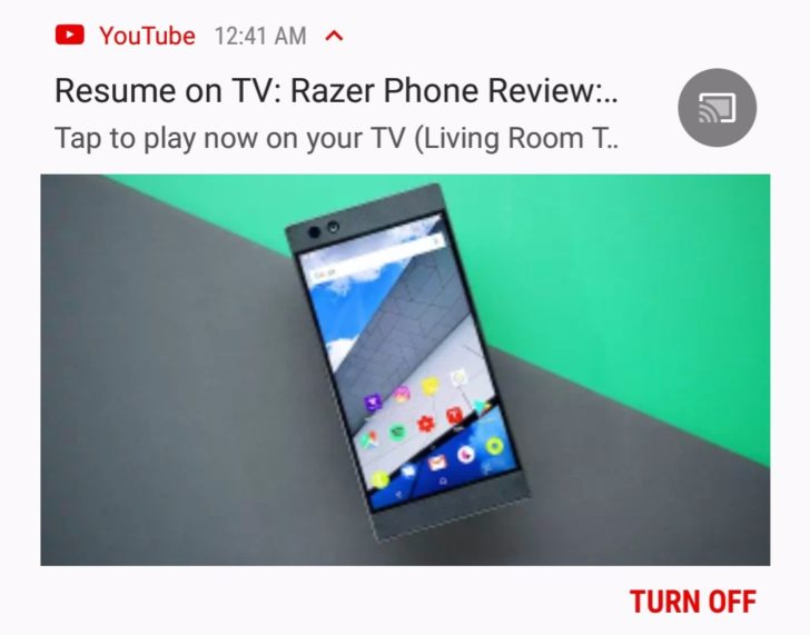 youtube notification offers to resume a paused video on