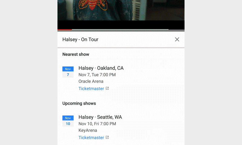 [Update: Eventbrite added too] YouTube partners with Ticketmaster to show artist gig listings with music videos