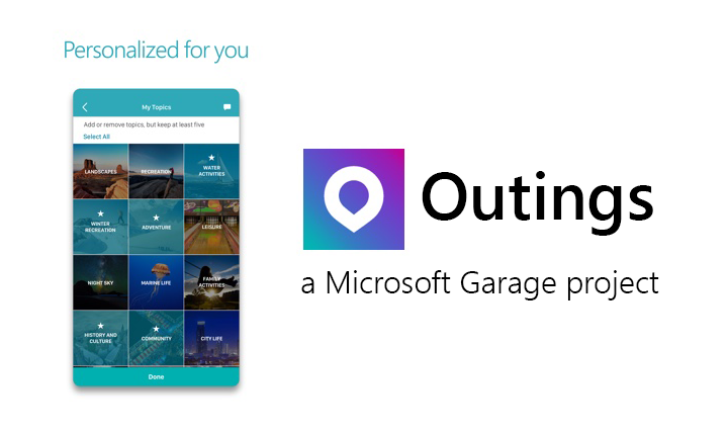 Outings by Microsoft Garage is a beautiful personalized travel discovery application