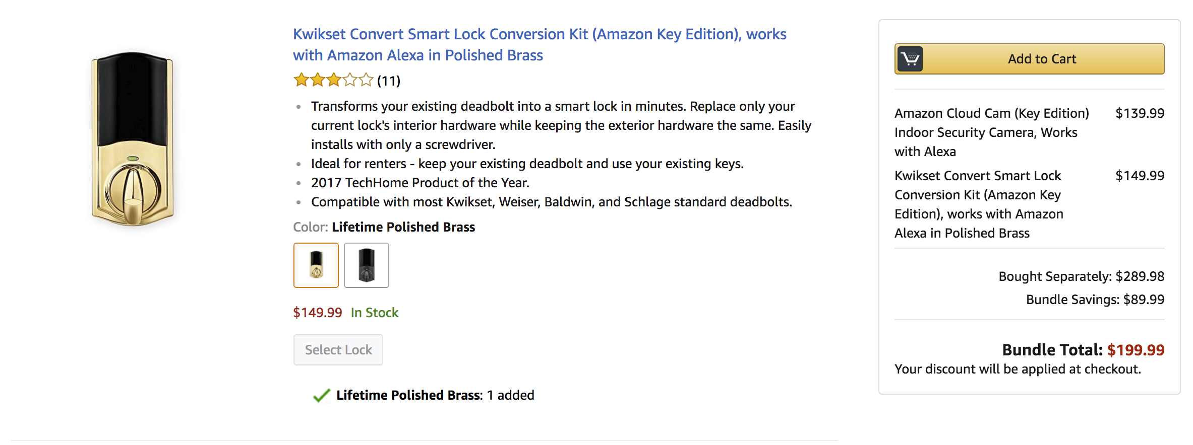 The Est Bundle Features A 139 99 Cloud Cam And 149 Kwikset Convert Smart Lock This Usually Costs 249 Together Offers