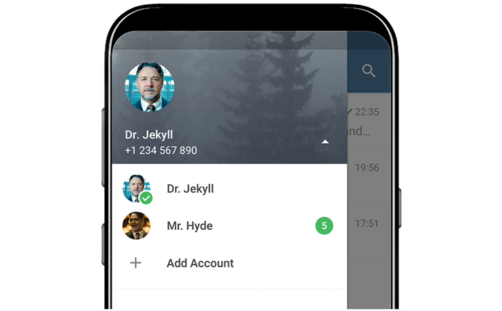 Telegram for Android now support multiple accounts, quick replies and themes