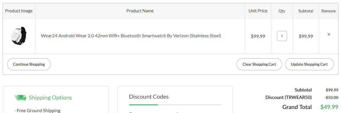 Deal alert verizons discontinued wear24 smartwatch is down to the deal comes with a coupon code trwear50 that must be entered when checking out the default price is 9999 and the code knocks another 50 off of fandeluxe Gallery