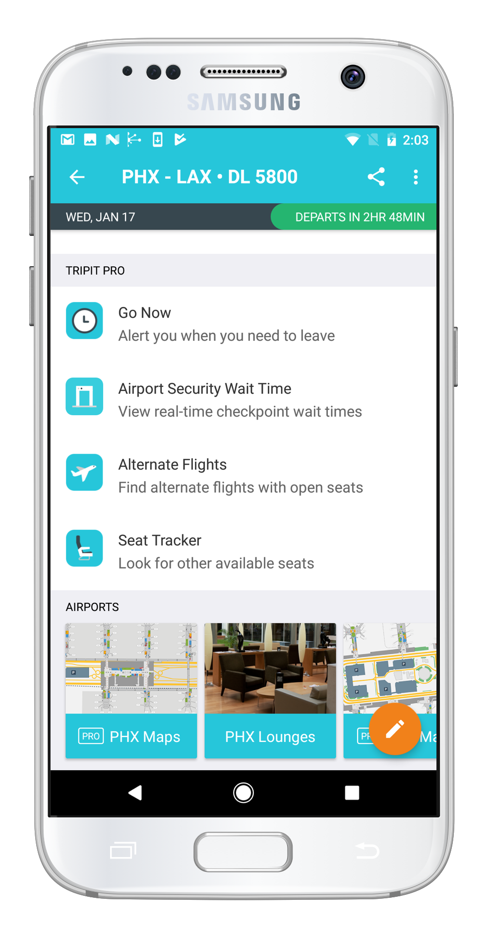TripIt now lets you know how long the airport security line