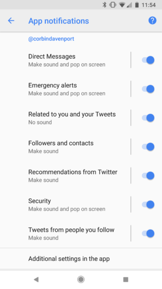 Twitter quietly added Notification Channel support to its