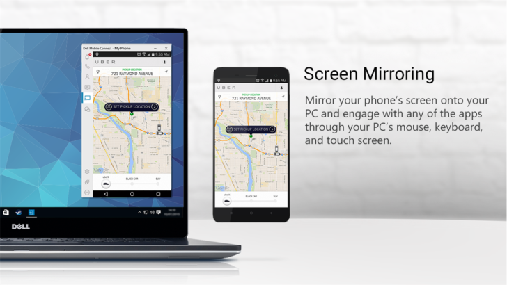 Dell mobile connect mirrors your phone 39 s screen on your for Mirror your phone to pc