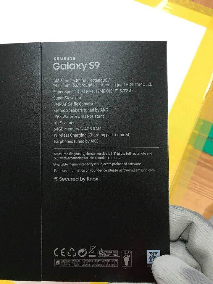Alleged Galaxy S9 box reveals 'Super Speed' camera with variable