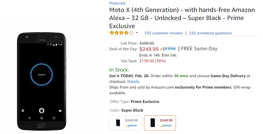 Deal Alert] Prime Exclusive Moto X4 on sale for $249 99