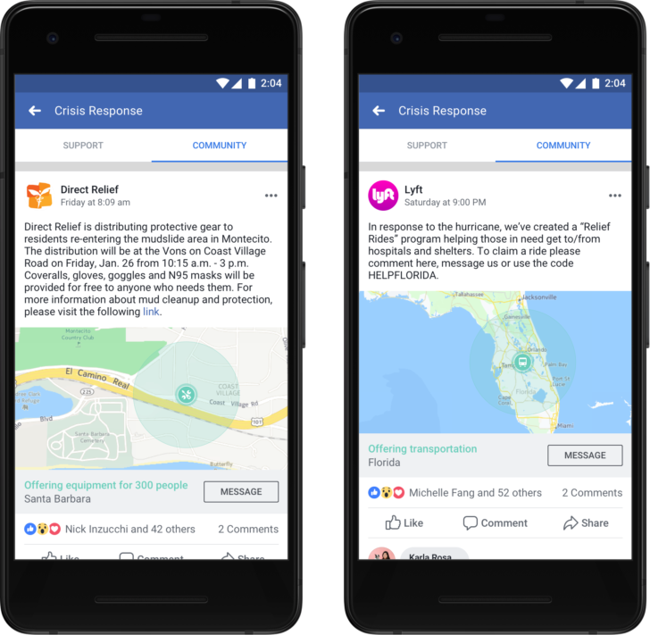 Facebook teams up with Lyft and others for crisis response efforts
