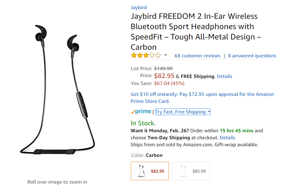 look, i checked the amazon rating on these jaybird freedom 2 earphones and  i know they don't seem to be the best in their category
