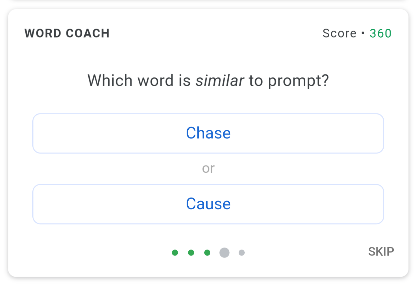 Google Word Coach tests your vocabulary knowledge in bite