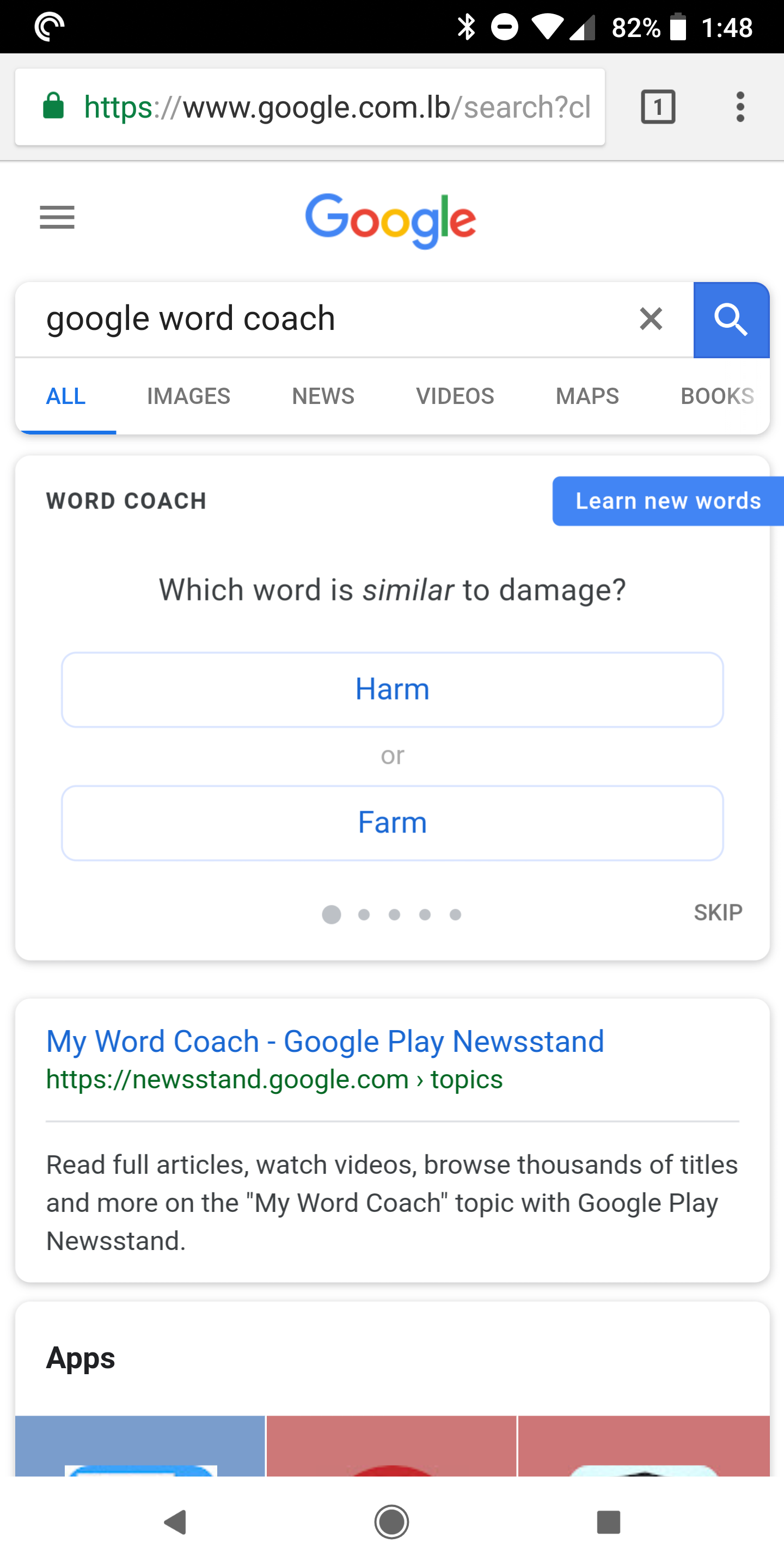 Google Word Coach tests your vocabulary knowledge in bite-sized