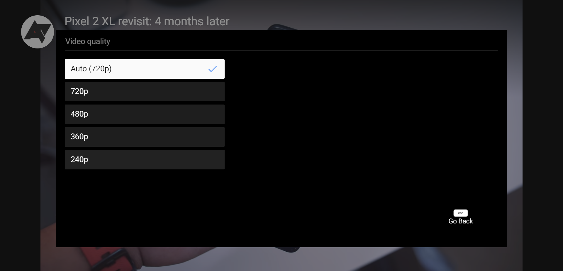 YouTube for Android TV adds manual resolution selection, starts