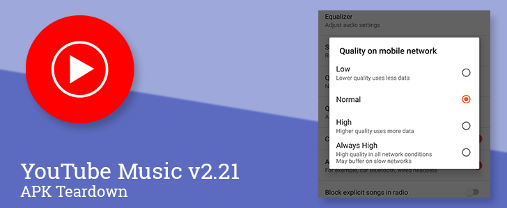YouTube Music v2 21 prepares to add streaming audio quality settings