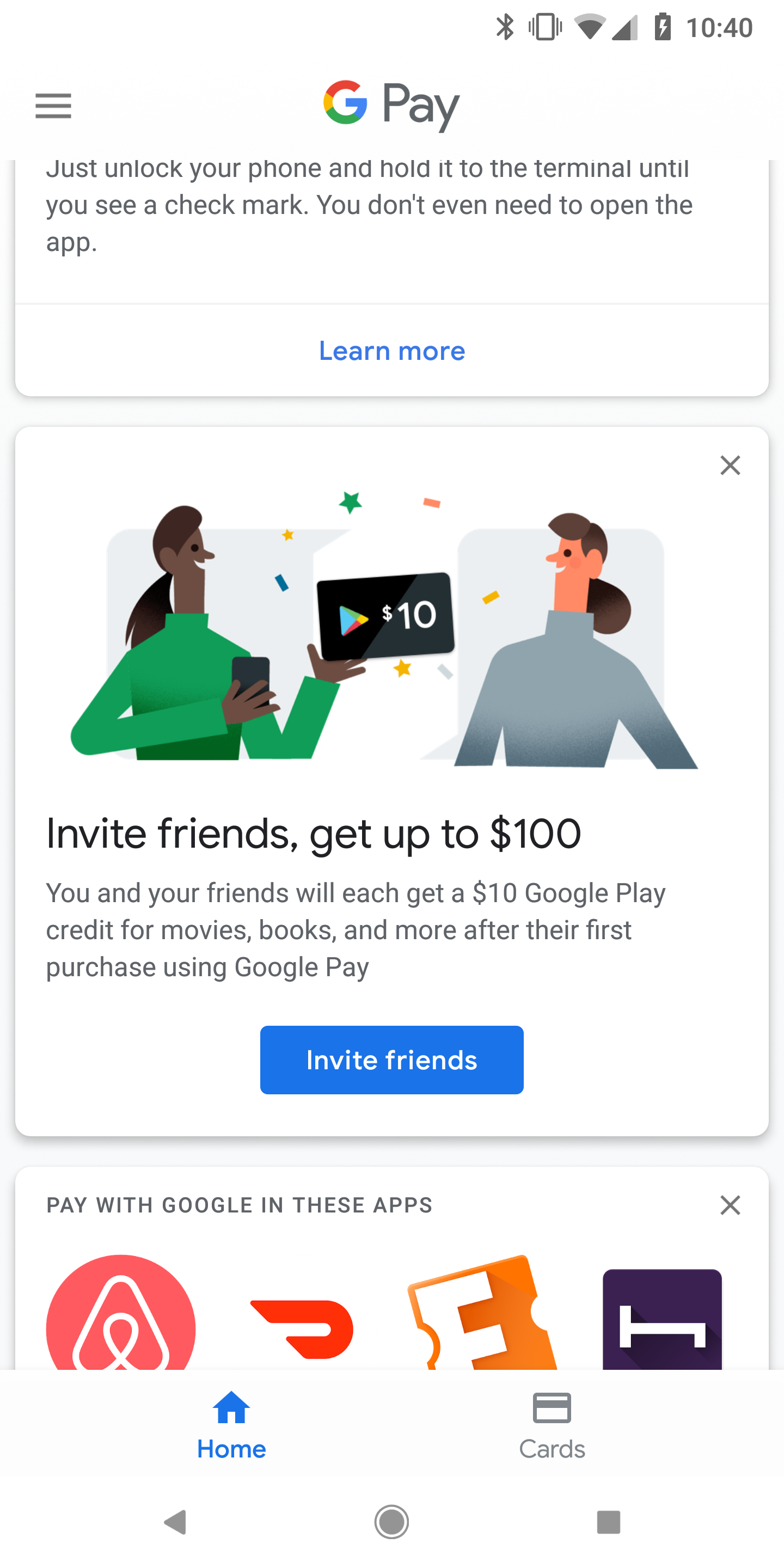 Google Pay offering $10 Play credit to you and a friend per referral