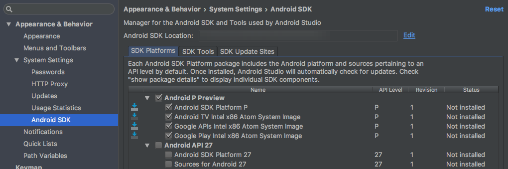 Android P SDK and emulator images appear in Android SDK Manager
