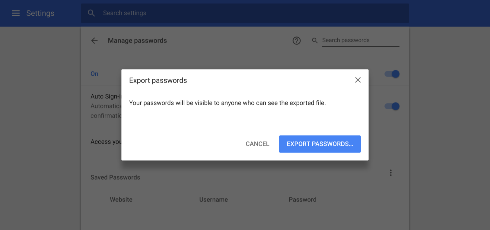 Update: Flag setting] Chrome lets you export your saved logins as
