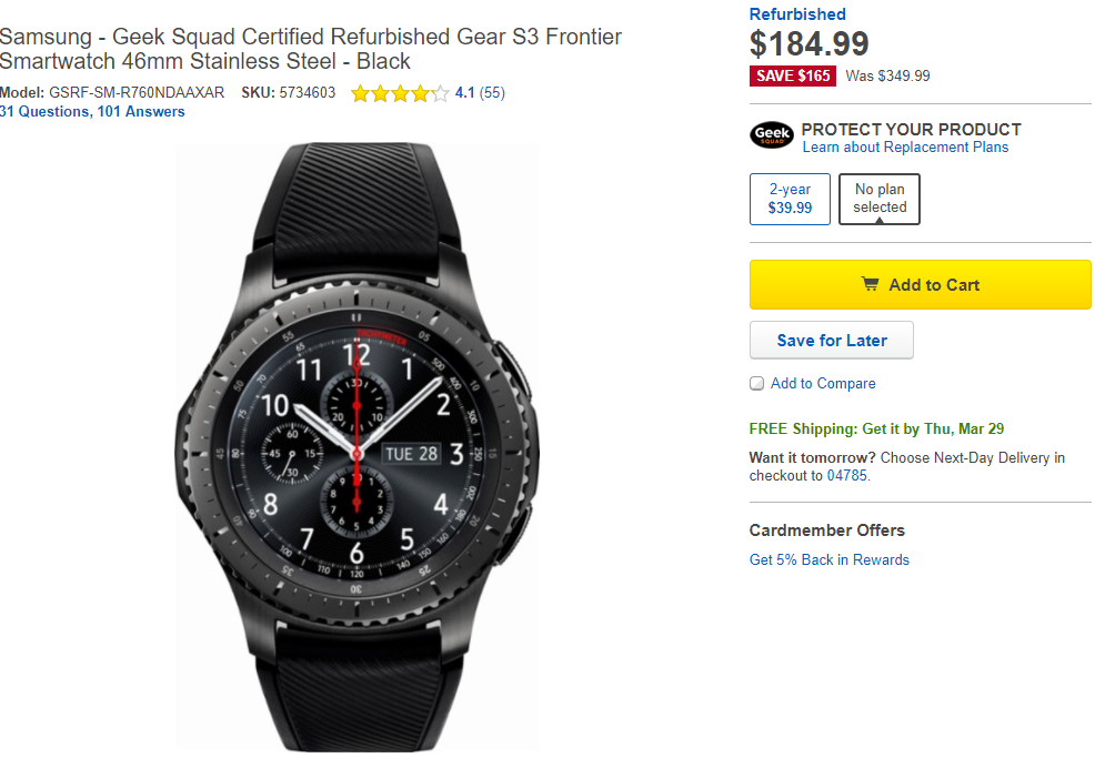 Deal Alert] Samsung Gear S3 Frontier refurb down to $184 99