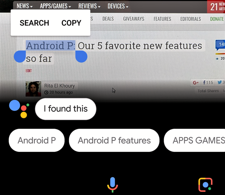 You can now select and copy text in Google Lens in Assistant