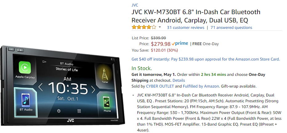 Deal Alert] JVC Android Auto head unit (KW-M730BT) hits all-time low