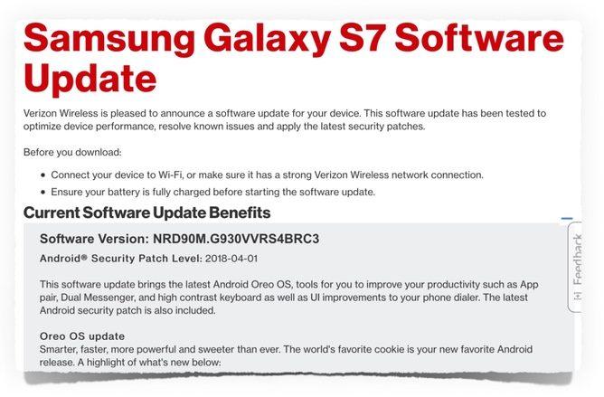 Update: Verizon responds] Verizon promises Oreo update for Samsung