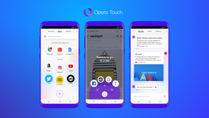 Opera Touch keeps your phone and PC in ideal browsing sync