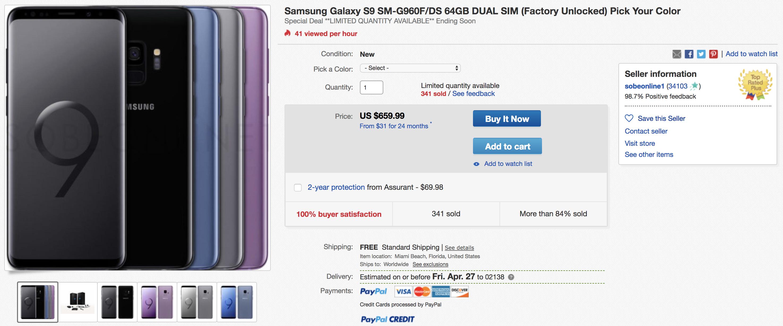 uk availability 9c2b7 bc4e7 Deal Alert] Dual-SIM Samsung Galaxy S9 $659.99 (SM-G960F/DS) on eBay