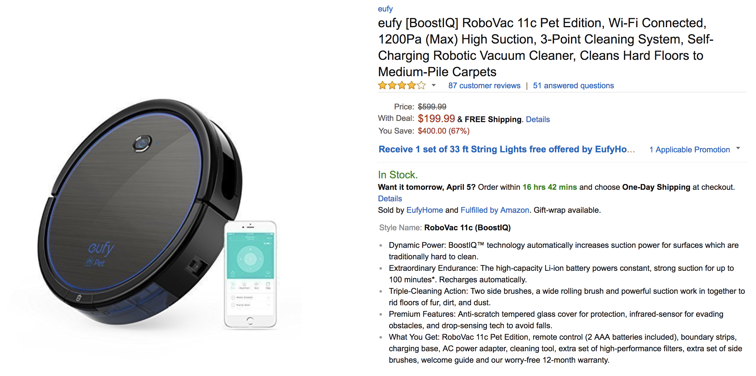 Deal Alert] Eufy RoboVac 11c Pet Edition for $199.99 ($100 off ...