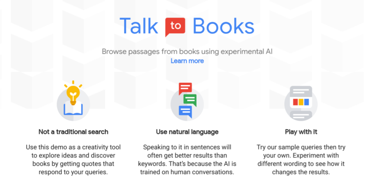 Google's Talk to Books lets you browse books with the help of AI