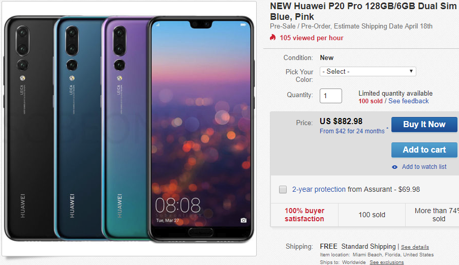 You can pre-order the Huawei P20 Pro in the US via eBay