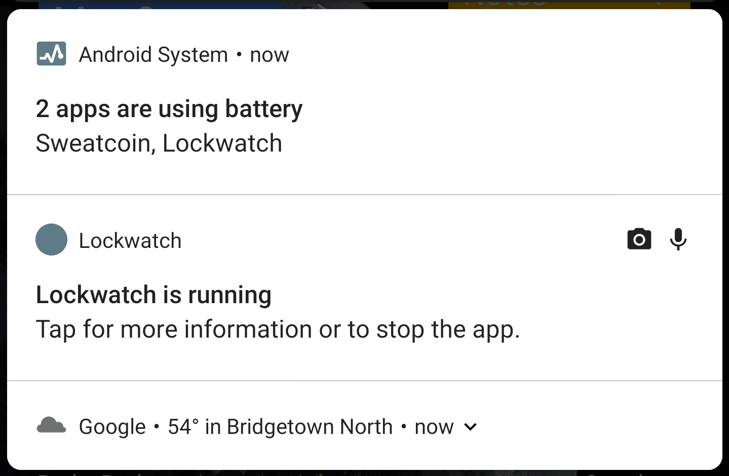 In Android P, notifications for apps running in the background show