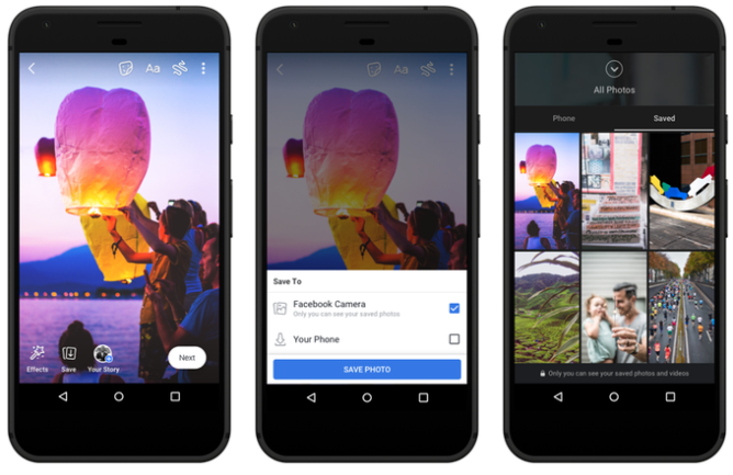 The Facebook Camera will allow users to save their shots online