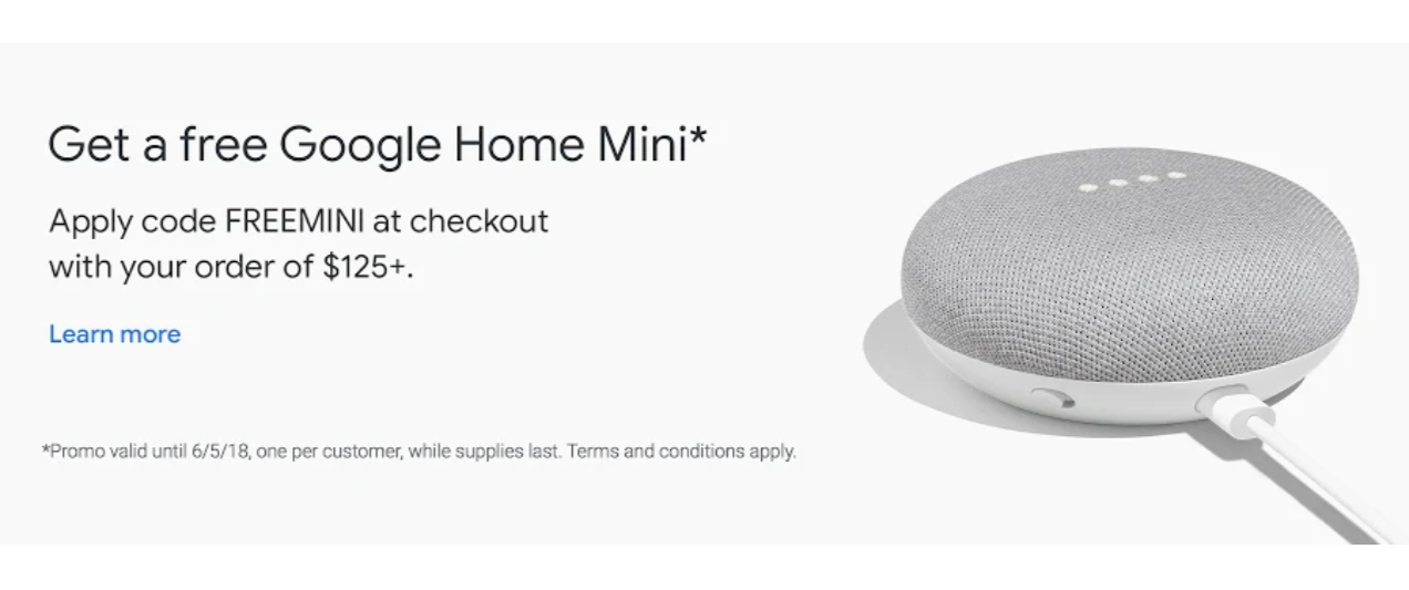Deal Alert Get A Free Google Home Mini When You Spend 125 On Google Express