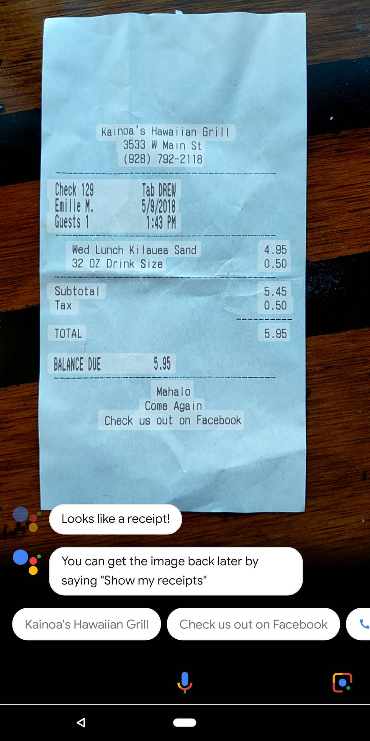 Google Lens can recognize receipts and organize them for you in