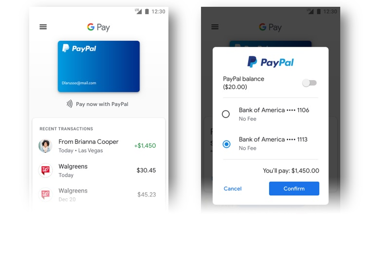 Payception The receiving and sending ends of a peer-to-peer payment made using a Bank of America account through Pay Pal via Google Pay