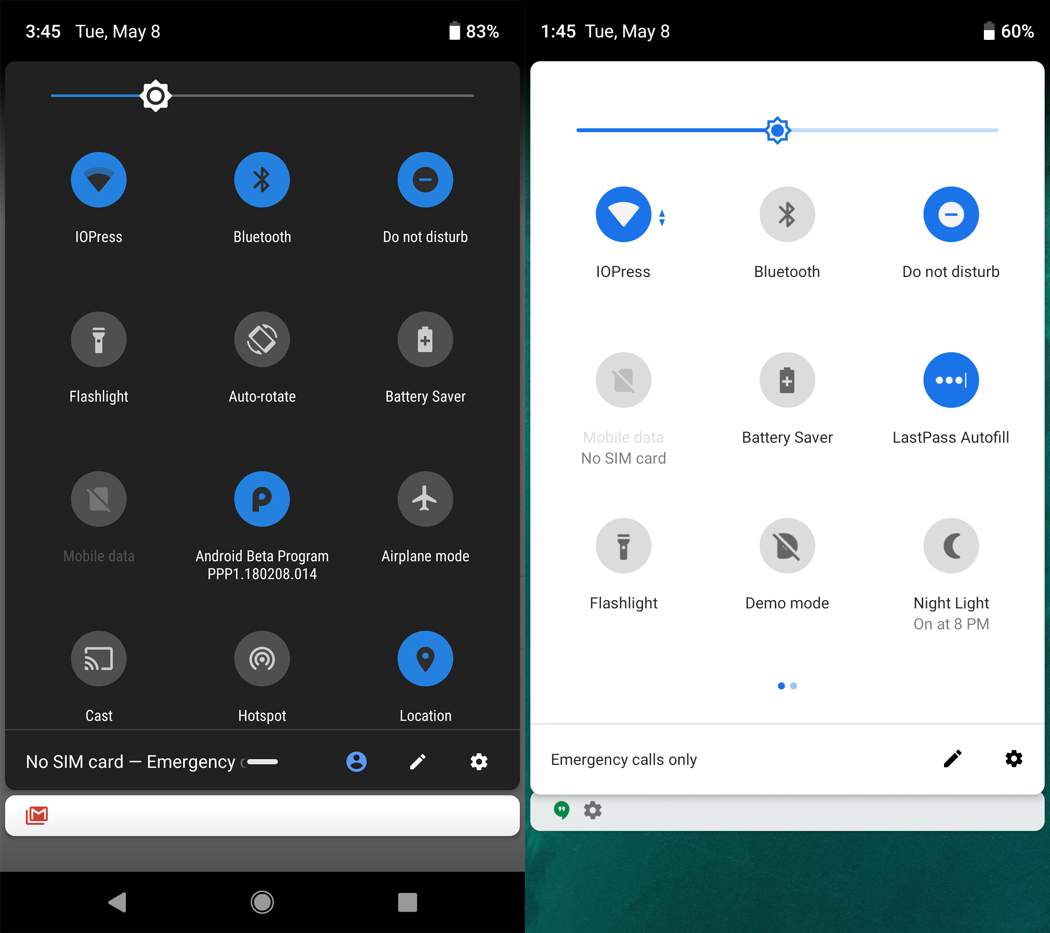 Developer Preview 2 goes back to the paginated quick settings