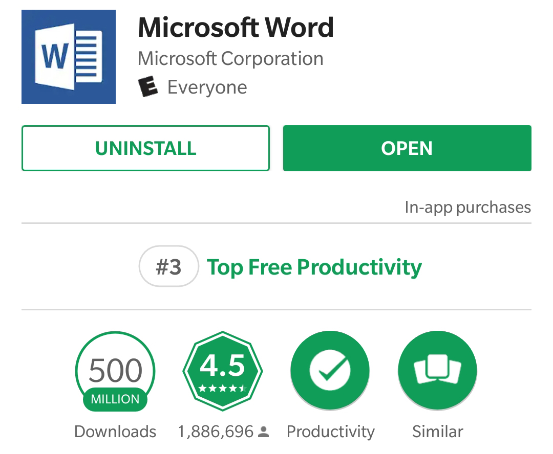 Word is the first Microsoft-published app to hit 500 million